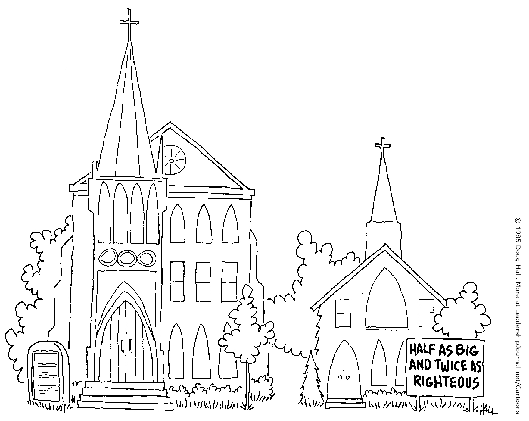 Church Line Drawing Little Self-righteous Church